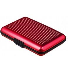 Portofel rezistent la apa, elegant pentru carduri sau documente - carcasa din aluminiu, culoare Rosu ID568